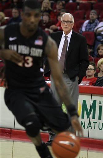 San Diego State's Steve Fisher watches his player drive to the basket against Fresno State in the second half of an NCAA college basketball game in Fresno, Calif., Saturday, March 1, 2014.