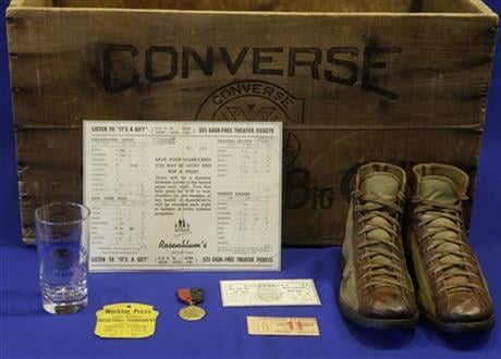 """In this Feb. 19, 2014 photo, items to be used as part of an exhibit entitled """"The Black Fives,"""" are shown at the New-York Historical Society in New York."""
