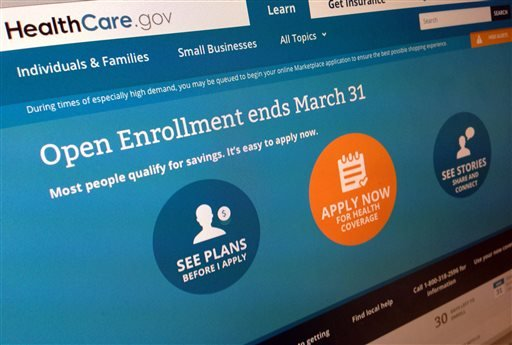 This March 1, 2014 file photo shows part of the website for HealthCare.gov as photographed in Washington.