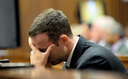 Pistorius is charged with the shooting death of his girlfriend Steenkamp, on Valentines Day in 2013. (AP Photo/Bongiwe Mchunu, Pool)