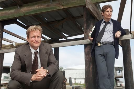 "This image released by HBO shows Woody Harrelson, left, and Matthew McConaughey from the HBO series ""True Detective."" (AP)"