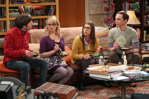 "This image released by CBS shows, from left, Simon Helberg, Melissa Rauch, Mayim Bialik and Jim Parsons in a scene from ""The Big Bang Theory."" (AP Photo/CBS, Michael Yarish)"