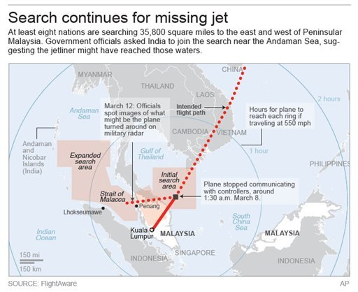 Map shows search areas for missing Malaysia Airlines jet. (AP)