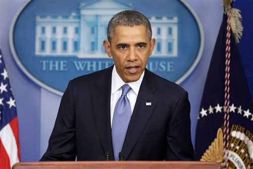 President Barack Obama speaks about Ukraine, Monday, March 17, 2014, in the James Brady Press Briefing Room at the White House in Washington.