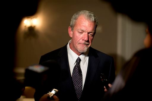 In this Oct. 8, 2013 file photo, Indianapolis Colts owner Jim Irsay pauses as he speaks to reporters following the NFL owners' fall meetings in Washington.