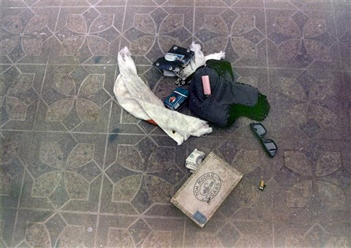 This April 1994 photo provided by the Seattle Police Department shows items found at the scene of Kurt Cobain's suicide, in Seattle.