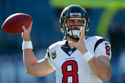 In this Dec. 29, 2013 file photo, Houston Texans quarterback Matt Schaub warms up before an NFL football game against the Tennessee Titans, in Nashville, Tenn.