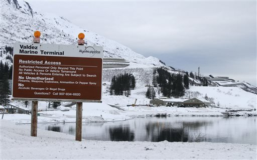 This Feb. 26, 2014, photo shows the terminus of the 800-mile trans-Alaska oil pipeline in Valdez, Alaska.