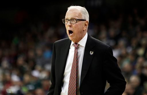 San Diego State head coach Steve Fisher instructs his team in the first half during the third-round game against North Dakota State of the NCAA men's college basketball tournament in Spokane, Wash., Saturday, March 22, 2014. (AP Photo/Young Kwak)