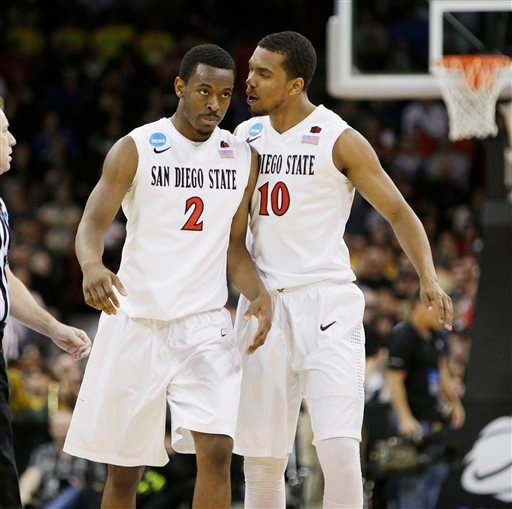 San Diego State's Xavier Thames (2) and Aqeel Quinn (10) react after a basket by teammate Xavier Thames in the first half during the third-round game of the NCAA men's college basketball tournament against North Dakota State in Spokane, Wash.