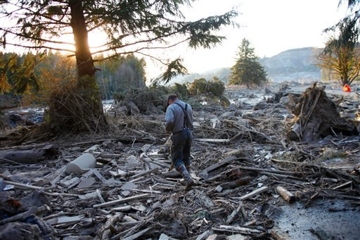 Steve Skaglund walks across the rubble on the east side of Saturday's fatal mudslide near Oso, Wash., Sunday, March 23, 2014. (AP Photo /The Herald, Genna Martin)