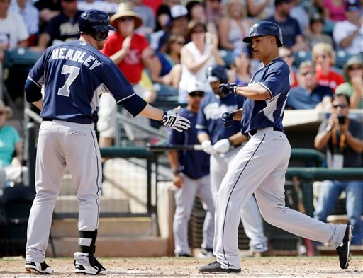 San Diego Padres' Will Venable is congratulated by Chase Headley, left, after hitting a home run during the third inning of a spring exhibition baseball game against the Texas Rangers, Sunday, March 23, 2014, in Surprise, Ariz. (AP Photo/Darron Cummings)