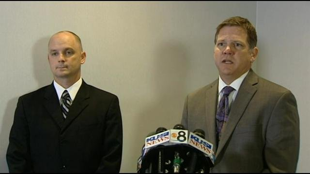 This is a video screen image from a news conference held Tuesday, March 25, 2014. Jacob Gregoire, a 12-year veteran of the Chula Vista Fire Dept. is seen on the left.