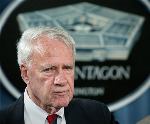 This Aug. 24, 2004 file photo shows former Defense Secretary James Schlesinger, chairman of the Detention Operations Review Panel speaking at the Pentagon. A Washington think tank confirms Schlesinger has died. (AP Photo/Lawrence Jackson, File)
