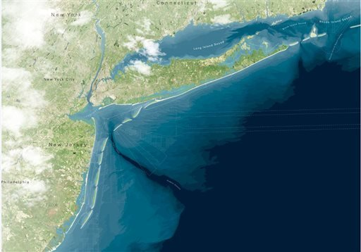 """The """"Blue Dunes"""" project, conceived by New Jersey's Stevens Institute of Technology and two architectural firms, would cost $10 billion to $12 billion, and would stretch from central Long Island, N.Y., to the southern tip of Long Beach Island."""