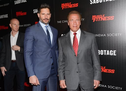 """In this Tuesday, March 25, 2014 file photo, actors Joe Manganiello, left, and Arnold Schwarzenegger attend a special screening of Open Road Films' """"Sabotage,"""" hosted by The Cinema Society with Muscle & Fitness at AMC Lincoln Square, in New York."""