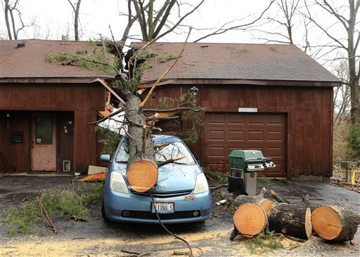 A strong storm sent a tree through his home and garage, landing on a car on Thursday, April 3, 2014 in Belleville, Ill.