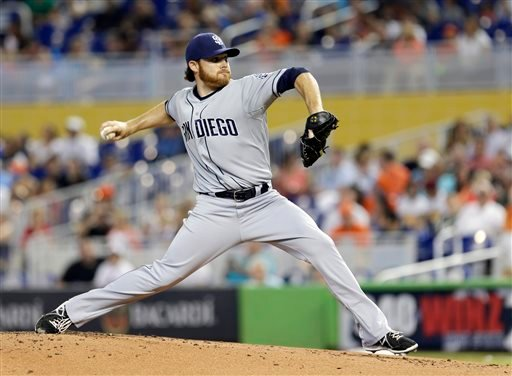 San Diego Padres' Ian Kennedy pitches against the Miami Marlins in the first inning of a baseball game in Miami, Sunday, April 6, 2014. (AP Photo/Alan Diaz)