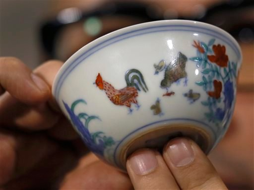 "The Meiyintang ""Chicken Cup"" from the Chinese Ming Dynasty (1368-1644) is displayed during a press conference in Hong Kong, Tuesday, April 8, 2014."