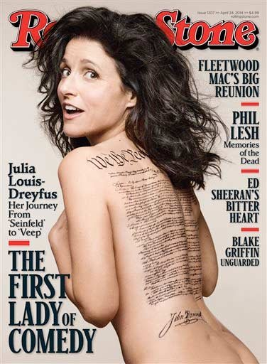This undated photo released by Rolling Stone shows the cover of the April 24, 2014 issue of Rolling Stone magazine featuring actress Julia Louis-Dreyfus, photographed by Mark Seliger for Rolling Stone.