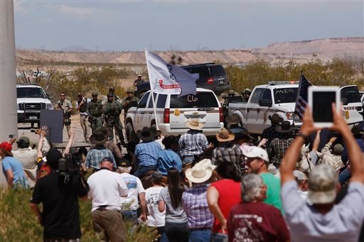 The Bundy family and their supporters gather together under the I-15 highway just outside of Bunkerville, Nev. in order to confront the Bureau of Land Management and demand the release of their impounded cattle on April 12, 2014.