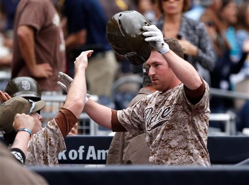 San Diego Padres' Jedd Gyorko celebrates with teammates after his solo home run in the first inning of an MLB baseball game against Detroit Tigers Sunday, April 13, 2014, in San Diego. (AP Photo/Don Boomer)