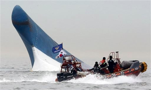 South Korean coast guard officers try to rescue passengers from a ferry sinking in the water off the southern coast near Jindo, south of Seoul, South Korea, Wednesday, April 16, 2014. (AP)