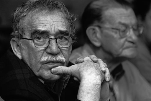 In this 2003 photo released by the Fundación Nuevo Periodismo Iberoamericano (FNPI), Colombian Nobel laureate Gabriel Garcia Marquez, left, is seen in Monterrey, Mexico.