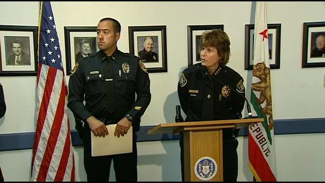 SDPD Chief Shelley Zimmerman and La Mesa police Lt. Matt Nicholass hold joint news conference Wednesday, April 23, 2014 on the arrest of SD police officer Gilbert Lorenzo.