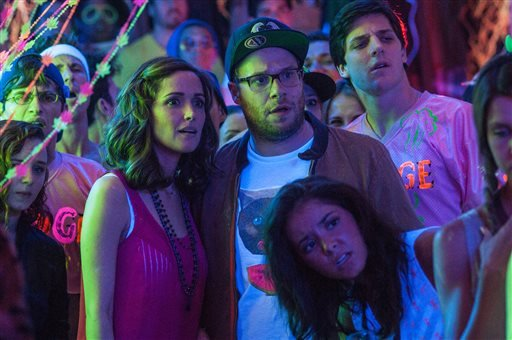 "This image released by Universal Pictures shows Rose Byrne, left, and Seth Rogen in a scene from ""Neighbors."" (AP Photo/Universal Pictures, Glen Wilson)"