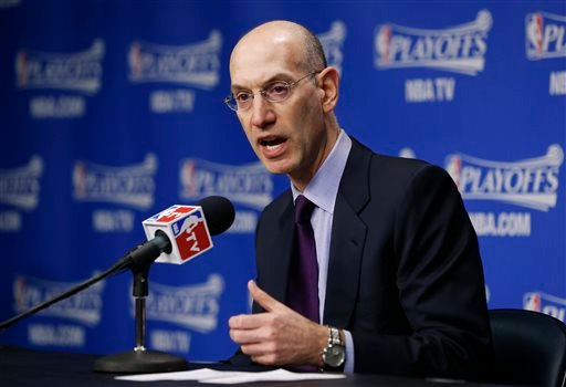 NBA Commissioner Adam Silver answers questions during a news conference before Game 4 of an opening-round NBA basketball playoff series between the Memphis Grizzlies and the Oklahoma City Thunder on Saturday, April 26, 2014, in Memphis, Tenn.