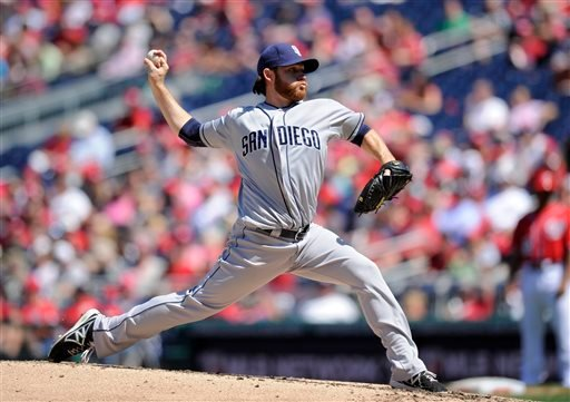 San Diego Padres starting pitcher Ian Kennedy delivers against the Washington Nationals during the third inning of a baseball game on Sunday, April 27, 2014, in Washington. (AP Photo/Nick Wass)