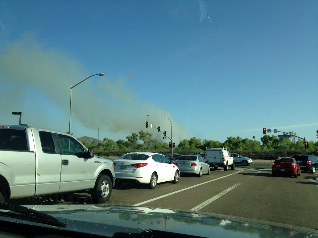 This is a viewer-submitted photo of the smoke produced by a fire in Santee that broke out the morning of Wednesday, April 30. (Courtesy: D. Burns)