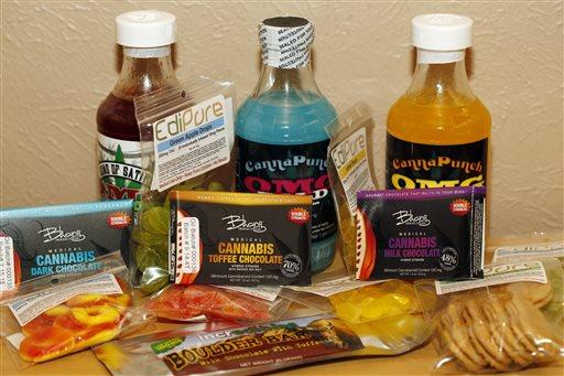 FILE - This April 18, 2014 file photo shows edible marijuana products on display at a medical marijuana dispensary in Denver. (AP)