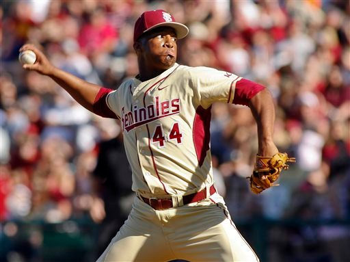 FILE - In this March 2, 2014, file photo, Florida State relief pitcher Jameis Winston throws in the ninth inning of an NCAA college baseball game against Miami in Tallahassee, Fla. (AP)