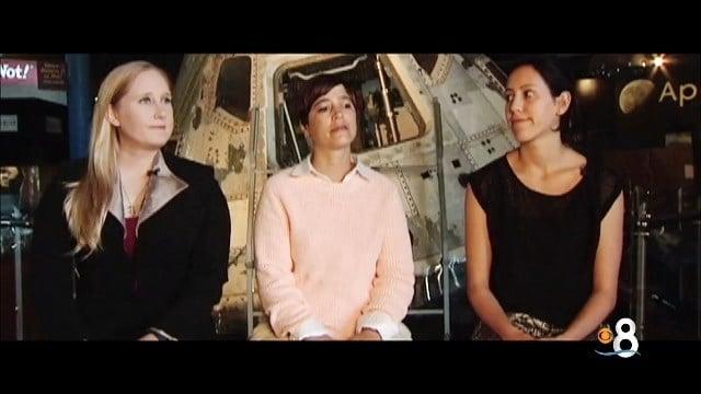 Mars One candidates Carmen Paul, Trina Sandal and Alexandra Tischer