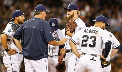 San Diego Padres pitching coach Darren Balsley, second from left, talks with starter Andrew Cashner after Cashner loaded the bases with a walk and just before before he surrendered a two-run single to the Arizona Diamondbacks.