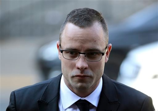 Oscar Pistorius arrives at the high court in Pretoria, South Africa, Monday, May 5, 2014.