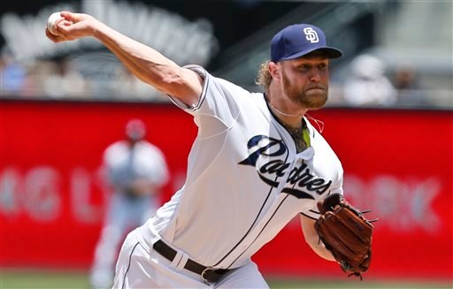 San Diego Padres starting pitcher Andrew Cashner works the first inning against the Kansas City Royals during a baseball game Wednesday, May 7, 2014, in San Diego.