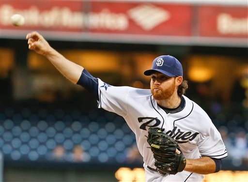 San Diego Padres starting pitcher Ian Kennedy works against the Miami Marlins during the first inning of a baseball game Thursday, May 8, 2014, in San Diego. (AP Photo/Lenny Ignelzi)