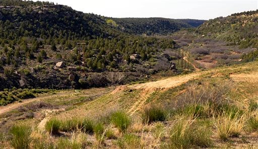This April 26, 2014 photo shows Recapture Canyon, looking south from Recapture Dam in Utah.