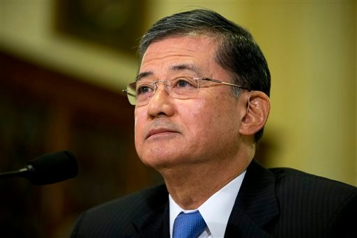In this Oct. 9, 2013, file photo, Veterans Affairs Secretary Eric Shinseki listens as he testifies on Capitol Hill in Washington.