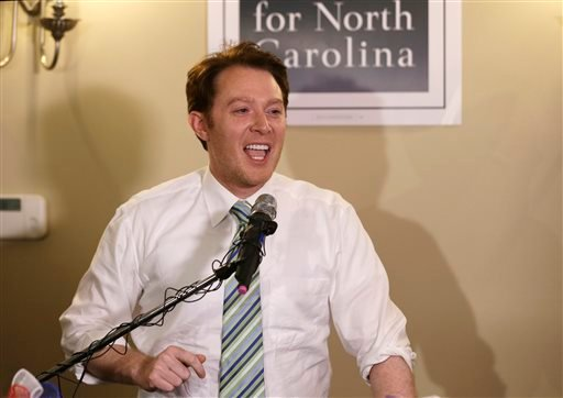 In this May 6, 2014 file photo, Clay Aiken speaks to supporters during an election night watch party in Holly Springs, N.C.