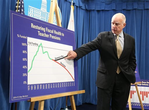 Gov. Jerry Brown points to a chart showing his plan to fund teacher pensions as he unveils his revised 2014-15 state budget at the Capitol in Sacramento, Calif., Tuesday, May 13, 2014.