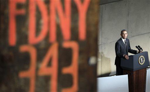 President Barack Obama speaks at the dedication ceremony for the National September 11 Memorial Museum on Thursday, May 15, 2014 in New York.