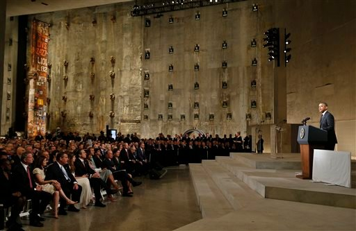 President Barack Obama speaks at the dedication ceremony for the National September 11 Memorial Museum on Thursday, May 15, 2014 in New York.
