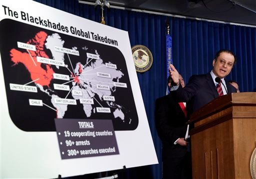 Preet Bharara, U.S. Attorney for the Southern District of New York, discusses arrests in the malware BlackShades Remote Access Too, during a news conferencel in New York, Monday, May 19, 2014.
