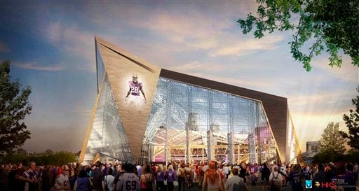 This file handout released May 13, 2013, by the Minnesota Sports Facilities Authority and the Minnesota Vikings shows a rendering of the new Vikings stadium.