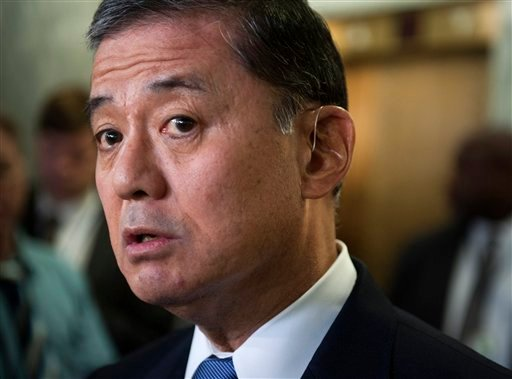 In this May 15, 2014, photo, Veterans Affairs Secretary Eric Shinseki speaks with the news media on Capitol Hill in Washington. (AP Photo/Cliff Owen)