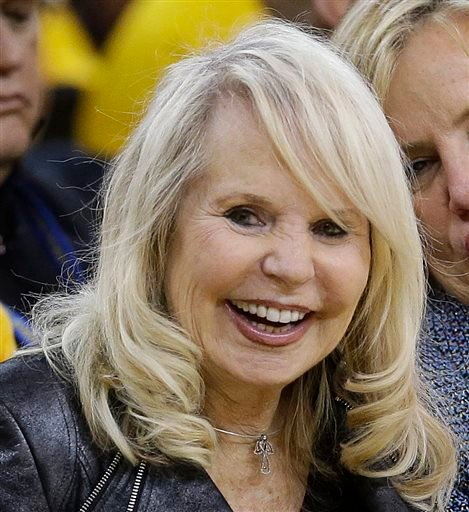 This is a April 27, 2014 file photo showing Shelley Sterling, wife of Los Angeles Clippers owner Donald Sterling, watching from a court side seat.